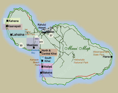 Maui And Kauai Maps Rentals Of Maui Condos Com